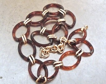 vintage tortoise chain belt - 1970s gold/tortoise disco chain belt