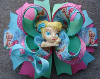 Tinkerbell hair bow aqua and pink hair bow large Hair Bow Boutique hair bow disney hair bow purple and green hair bow polka dots hair bow