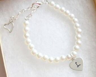 Flower Girl Gift, Personalized Initial Bracelet, Girl's Bracelet, Children's Jewelry, Pearl Wire Bracelet, White Pearl Heart Initial Flower