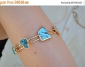 VALENTINES SALE Upper Arm Cuff /// Lux Divine Double Banded Adjustable Turquoise Gemstone Arm Wrap/// Gold