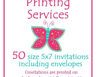 Printing Services --  Fifty  5x7 Invitations including envelopes -- Custom Printing