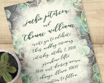"Succulent wedding invitation suite, ""Suite Succulents"", SAMPLE ONLY"