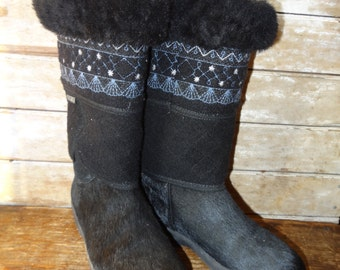 Vintage Tecnica Fur Winter Boots 70's Made In Italy Black Goat Fur US Women's Sz  7.5
