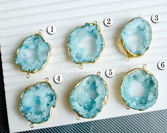 Druzy,, Druzy pendant, 7% off Geode druzy, connector, Matte Gold plated Edge aquamarine drusy Pendant, aquamarine blue color, JSl-8938