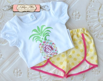 Pineapple Outfit, Toddler Shorts Outfit, Toddler Girls Outfit, Vinyl Monogram Shirt, Summer Outfit