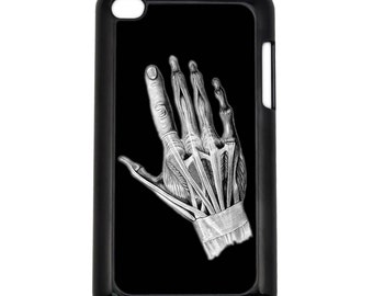 Hand Layers X-ray Apple iPod Touch 4th Generation Hard Case Anatomy Pencil Sketch Art (Choose Case Color)