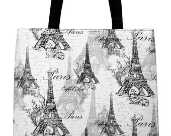 Paris Eiffel Tower Tote - Black, White and Gray Carryall Bag - Ready to Ship