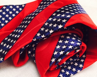 Vintage Patriotic Silk Necktie Red White And Blue Stars and Stripes 1980s