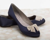 Navy Flats - Wedding Flats - Wedding Shoes - Navy Bridal Shoes - Navy Wedding Flats - Navy Shoes - Wedding Shoes Flats - Crystal Bow - Navy