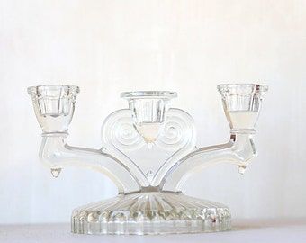 Lovely Clear Cottage  Three Candle Stick Holder  - VIntage Chic Home Decor
