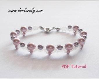 Beaded Bracelet Pattern Instructions - Pink Purple Pearl Bracelet (BB071) - Beading Jewelry PDF Tutorial (Instant Download)