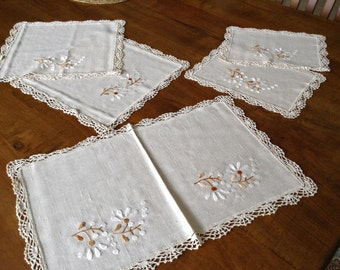 5 Pc Matching Hand Made Linen Set, MINT Condition, Hand Crocheted and Embroidery, Doilies, Dresser Set