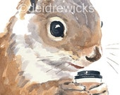 Squirrel Watercolour - Coffee Drinking Squirrel Painting, Fine Art PRINT, Funny Painting, Red Squirrel