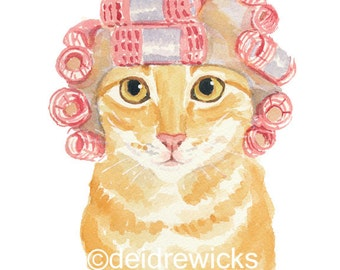 Orange Tabby Cat PRINT - 5x7 Cat Watercolor Illustration, Hair Curlers, Cute Cat, Nursery Art