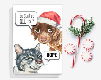 Christmas Card - Cat Watercolor, Dog Watercolor, Funny Xmas Card, 5x7 Greeting Card, Holiday Card