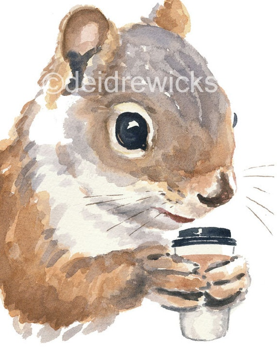 Squirrel Watercolour PRINT - Coffee Drinking Squirrel Painting, 8x10 Print, Funny Painting