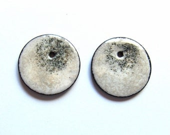 Enameled copper charms White and taupe enamel earring charms Jewelry making supplies Artisan earring components Earring findings