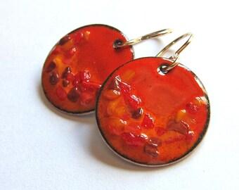 Orange enamel drop earrings Round disc dangle earrings Colorful fall enamel jewelry Lightweight enameled copper earrings Gold-filled wires