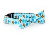 4 colors to choose from! Dog Bow tie Collar Argyle Collection, made in San Francisco USA, handmade dog collar, usagiteam designer pet collar