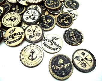 5 x Navy Anchor Printed Wooden Sewing Buttons - Nautical Theme - 25mm - Wooden Buttons