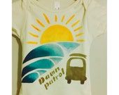 Dawn Patrol, organic hand painted onesie or little t-shirt