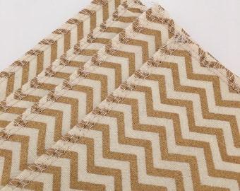 Gold Chevron Coasters | Fabric Coaster | Christmas Coaster | Elegant | Shabby Chic