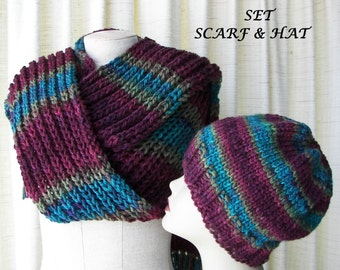 Hand Knit Chunky Scarf & Hat 100% Acrylic in Wine Rose Aqua/ Beanie Hat Scarf Set / Ready to ship Unique Gift / Textured Knit Scarf