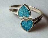 Vintage Valentine Romantic Double Heart Turquoise Blue Stone Chip Inlay Inlaid Sterling Silver Adjustable Ring 1970s 1980s