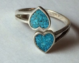 Vintage Valentine Romantic Promise Double Heart Turquoise Blue Stone Chip Inlay Inlaid Sterling Silver Adjustable Ring 1970s 1980s