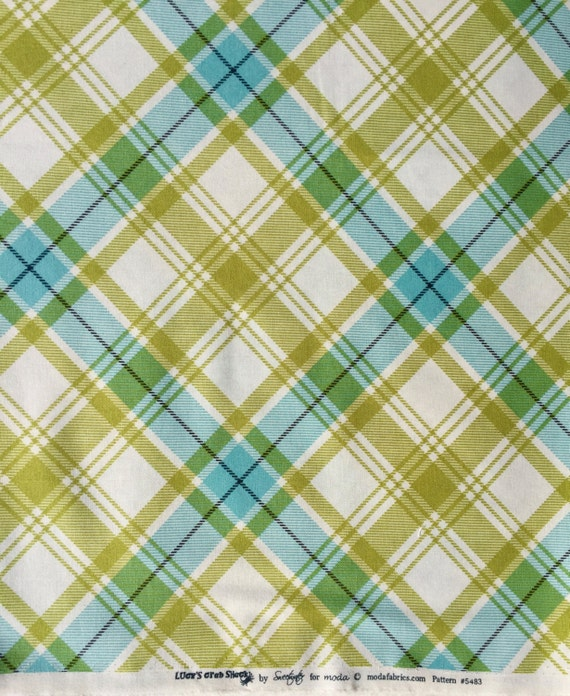 Lucy's Crab Shack plaid green aqua moda fabric FQ or more