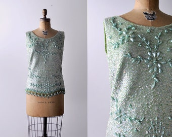 60's green top. large. 1960 sequin tank top. beaded. floral. light green. 60 sequin blouse. l.
