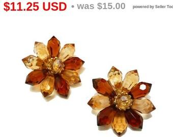 Western Germany Flower Earrings - Brown Star Flowers - Clip on European Earrings
