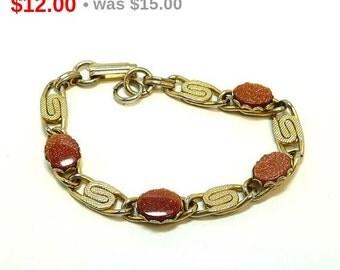 Gold Stone & Serpentine linky Bracelet - Vintage BOHO
