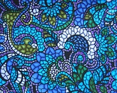 Silk Look Dupioni Two Yard Polyester Fabric Piece by Myletex International, Linwood Lagoon, Blue, Green, White Stained Glass Look
