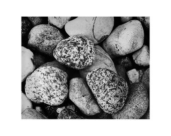 "Fine Art Black & White Nature Photography of Rocks - ""River Rocks"""