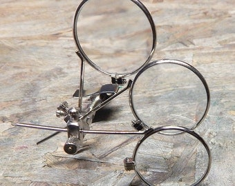 STEAMPUNK LOOPS - Stainless Steel Metal Framed TRIPLE Jewelers 'Clip On' Magnifying Eye Loupes with Adjustable Spring