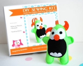Monster Sewing Kit, Felt Kids' Crafts, Felt Sewing Kit in a Box, 8+ years old craft, No need sewing machine, READY TO SHIP A683