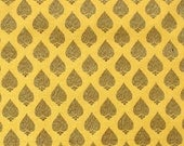 brocade fabric with gold motifs on yellow  - 1 yard - br090