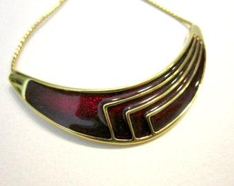 "Vintage Monet Choker Red Enamel Gold Necklace 16"" Signed Geometric Vintage Necklace Gift for Her Gift for Mom"