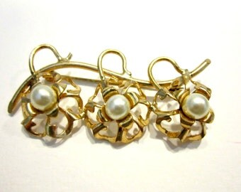 Vintage Faux Pearl Brooch 3 Triple Gold Brooch Gift for Her Gift for Mom Gift under 15 Holiday Gift Idea