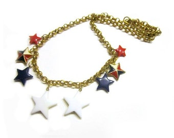 Vintage Red White Blue Stars Necklace Patriotic Jewelry Under 15 Jewelry Gift for Her Independence Day Patriotic Gift