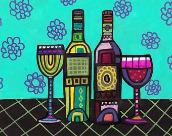 Wine Bottles Art Poster Print of Painting, Wine Series by Heather Galler  (HG44451)  Wine Lovers Wine Glasses Abstract