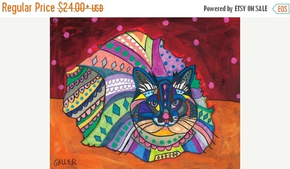 55% Off- Persian CAT Folk art  Poster Print of painting by Heather Galler (Hg754)