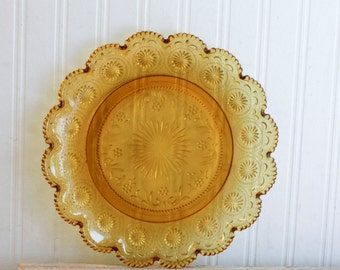 Vintage Amber Glass Plate from the 1970s, Decorative Summer Platter or Plate, Starburst Pattern, Scalloped Edge, Retro Entertaining