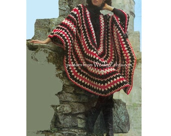 Vintage Crochet Poncho and polo sweater Pattern Crocheting Patterns PDF 823 from WonkyZebra