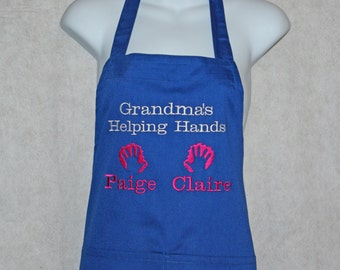 Grandma's Helping Hands Apron, Embroidered, Personalize With Two Names, For Nana, Mimi Ma, No Shipping Charge, Ready To Ship TODAY, AGFT 281