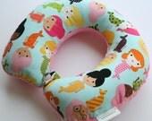 Child Travel Neck Pillow - Mermaids w/ Dark Pink Minky