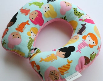 Child Travel Neck Pillow - Mermaids w/ Dark Pink Minky