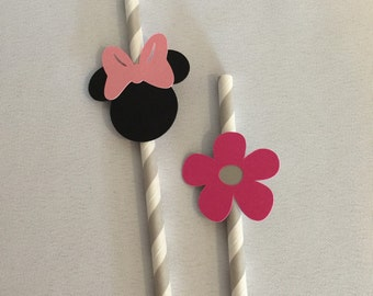 Minnie Mouse Paper Straws, Minnie Mouse Straws, Minnie Party Straw, Minnie Mouse Party Decor, Kids Party Straws, Disney Party Straws
