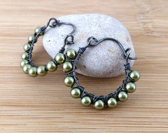 Olive Green Pearl Beaded Sterling Silver Hoops. Oxidized Sterling Silver Wire Wrapped. Green Pearl Earrings. Swarovski Pearl Earrings.